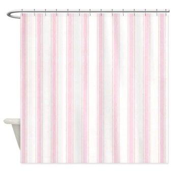 180x180cm ผ้าม่านห้องน้ำกันน้ำ ลายเส้นชมพูและขาว 100% polyster