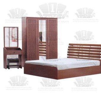 1deelert ชุดห้องนอน 3.5-6 ฟุต (เตียง+ตู้เสื้อผ้า+โต๊ะแป้ง) รุ่น Simple(B146) - สี walnut *เลือกขนาดได้*