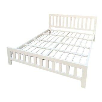 1deelertเตียงเหล็กกล่องหนาพิเศษ รุ่น CHAMPขนาด 5 ฟุต (สีขาว)