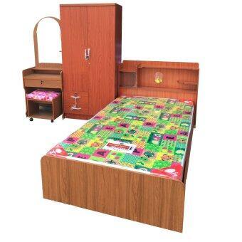 1deelert ชุดห้องนอน promotion ขนาด 3.5 ฟุต (เตียง + ตู้เสื้อผ้า 2บาน + โต๊ะแป้ง + ที่นอนโฟมฟองน้ำ) (สีสัก)