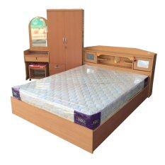 1deelert ชุดห้องนอน promotion ขนาด 5 ฟุต (เตียง + ตู้เสื้อผ้า 2 บาน + โต๊ะแป้ง + ที่นอนสปริง ) (สีบีช)