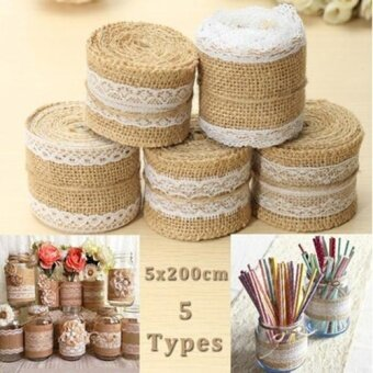 1PC 5cm x 200cm Jute Burlap Roll White Lace Hessian Trim Table Runner Bands Rusticity Na ...