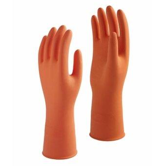 1st Star ถุงมือยางแบบไม่มีซับในสูตรพิเศษสีส้ม Size L จำนวน 3 คู่ ...