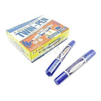 ปากกาเคมี2หัว ตราม้า สีน้ำเงิน24แท่ง