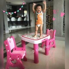 โต๊ะเอนกประสงค์ พร้อมเก้าอี้2ตัว เกรดพรีเมี่ยม โต๊ะเขียนหนังสือเด็ก โต๊ะเด็ก ลายabc สีชมพู