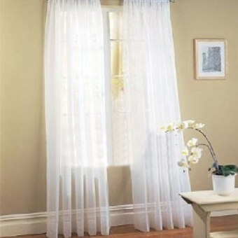 2 Pcs. Sheer Voile Window Panel Curtains Drape White - intl