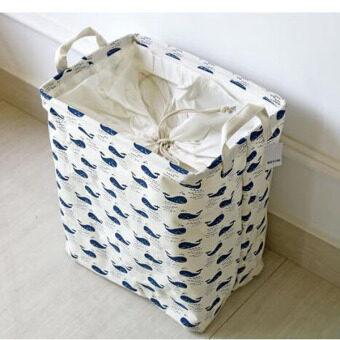 2016 Fashion Zakka Cotton Linen Folding Laundry Basket Blue WhaleDirty Clothes Storage Box Waterproof Wardrobe Sundries Organizer36x26x40cm