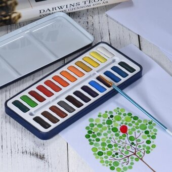24 Colors Solid Watercolor Paint Pigment Set with Paintbrush Metal Box for Artist Students Drawing Painting Art Supplies - intl