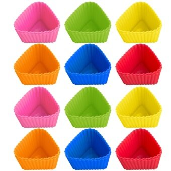 24 PCS Cute Silicone Reusable Baking Cups Non-stick Cookies Pudding Cupcakes Muffin Making Mold Bakeware Random Color Triangle Style - intl