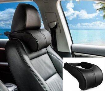 2pcs Ergonomic Headrest Black Pu Leather Auto Car Neck Rest Cushion Pillows