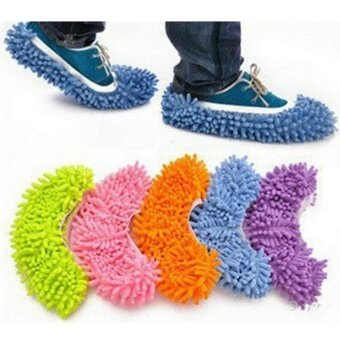 2PCs Fashion Convenient Dust Mop Slipper House Cleaner Lazy Floor Dusting Cleaning Foot Shoe Cover Dust Mop Slipper Cleaner Slipper