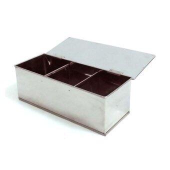 ลดราคา กล่องสเตนเลสใส่เครื่องปรุงแบ่ง 3 ช่อง