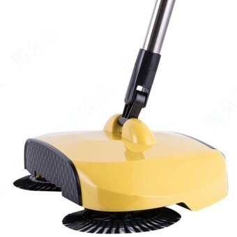 360 Rotary Home Use Magic Manual Telescopic Floor Dustsweeper With Adjustable Handle Easy Transaction (Yellow)