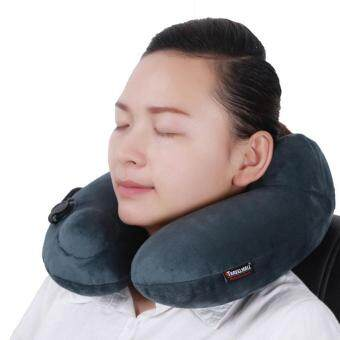 360DSC Autoinflation Automatic Inflatable Pillow 3D Neck Pillow Headrest Cushion Ergonomic Hump Design Camping Travel Home Office Plane Hotel TF408N - Grey