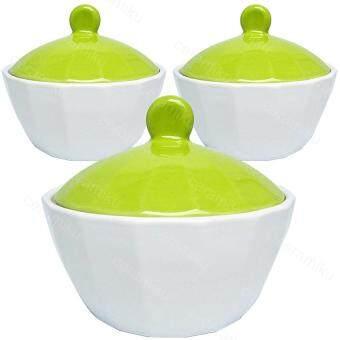 ถ้วยมีฝาปิด(เซรามิก) กว้าง4นิ้ว สีเขียว(3ใบ)