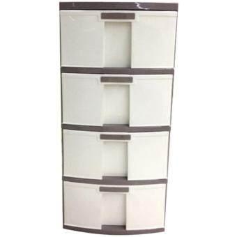 ตู้ลิ้นชักพลาสติก ตู้เก็บเสื้อผ้า ตู้เก็บของ 4 ชั้น ขนาด39.5x44.4x84.5 cm สีน้ำตาลขาว