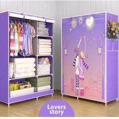ตู้เสื้อผ้า, ตู้เสื้อผ้า, ภาพวาด, 4 ชั้น 6 ช่อง 3D, กรอบแข็งแกร่ง (สี)