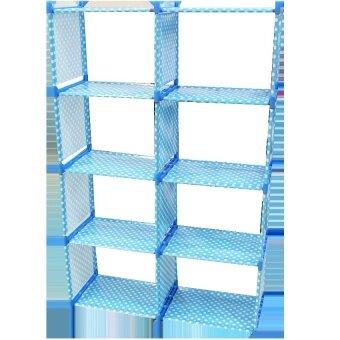 ชั้นวางหนังสือผ้าใบ 4 ชั้น 8 ช่อง (สีฟ้า)