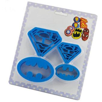 4ชิ้นซุปเปอร์ฮีโร่ Batman Superman การตกแต่งเค้กที่ตัดคุกกี้Sugarcraft - 2