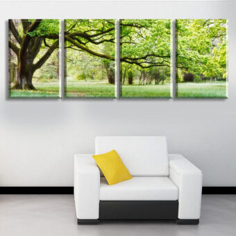 Harga 4 piece abstract no frame printed canvas art tree canvas wallpicture decoration home modern canvas oil art Prints