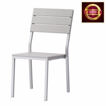 โปรโมชั่นพิเศษ เก้าอี้พลาสติกโพลีสไตรีนเก้าอี้สนาม สีเทา ที่นั่งสูง 43 ซม.