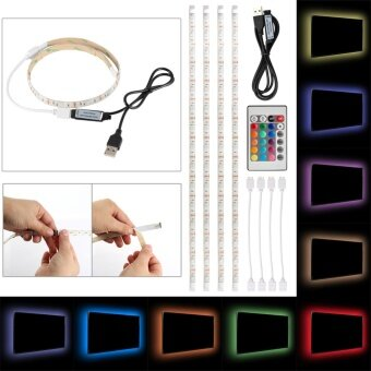 4pcs 0.5m LED Strip Light 5050 RGB USB TV Background Light ColorChanging with Remote Control ...