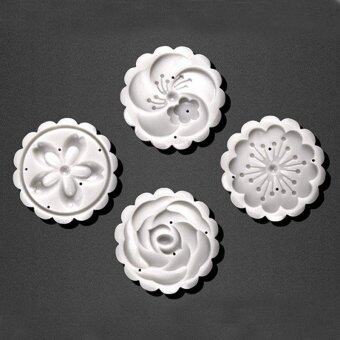 4Pcs/lot Hand pressing 50g Round Moon Cake Mold Belt 4 StampsCookie Cutter Pastry Moon Cake Molds - intl - 3