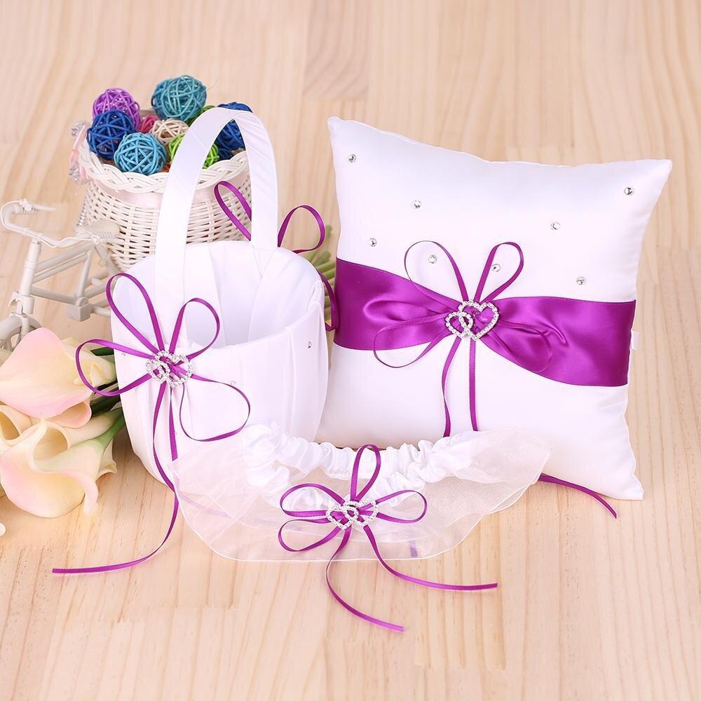 5pcs/set Wedding Supplies Double Heart Satin Flower Girl Basket + 7 ...