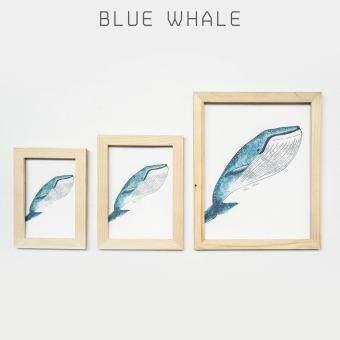 กรอบรูปพร้อมภาพ ลายวาฬสีน้ำเงิน กรอบรูป ไม้ ไม้สน ภาพวาด ภาพรีพริ้นท์ สีน้ำ ดอกไม้ ประดับ แขวน ตั้งโต๊ะ ใส่ภาพขนาด 5x7 นิ้ว - ไซส์ M
