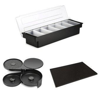 กล่องพลาสติกใส่เครื่องเคียง 6 ช่อง + แผ่นยางรองแก้วสำหรับบาร์ 12x18นิ้ว (สีดำ) + ถาดใส่เกลือ น้ำตาล ฟองน้ำ (3 ถาด)