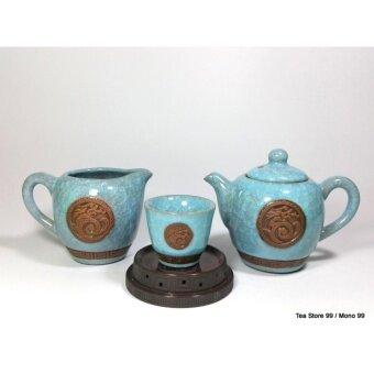ชุดกาน้ำชาชุดใหญ่ลายหินอ่อน8ชิ้น สีเทอร์คอยซ์ฟ้า-เขียว พร้อมแก้วชา 6 ใบ ถ้วยรองน้ำชาเข้าชุด - 3