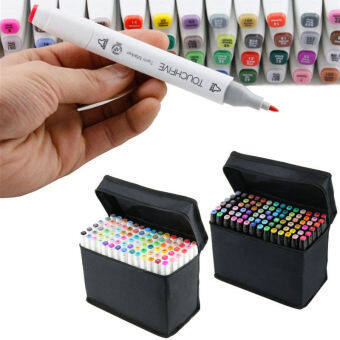 80 Colors Art Sketch Twin Marker Pen Broad Fine Point for Product(Black)