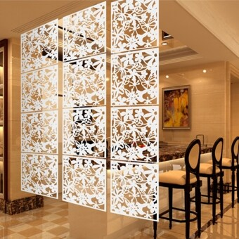 8pcs Hanging Screen Partition Room Divider Butterfly Flower Wall Sticker White