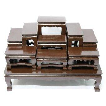 โต๊ะหมู่บูชาพระ (ไม้สักทอง) หมู่ 9 หน้า 4 สีโอ๊ค