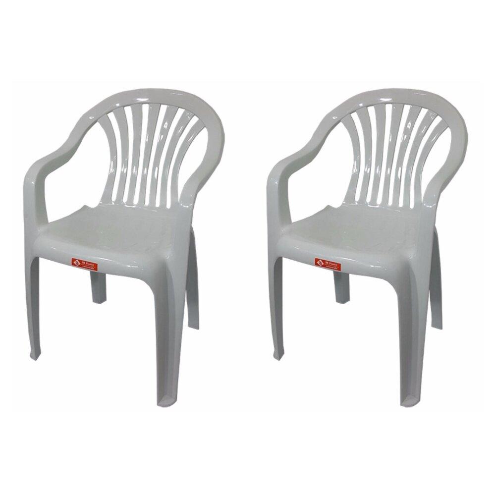 เก้าอี้สนาม มีพนักพิง และ ที่เท้าแขน รุ่น 999 สีขาวอมเทา แพ็ค2ตัว
