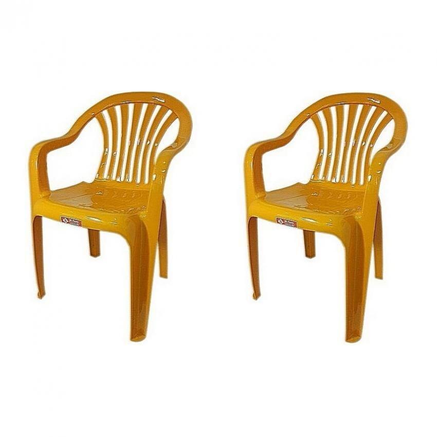 เช่าเก้าอี้ หนองคาย เก้าอี้สนาม มีพนักพิง และ ที่เท้าแขน รุ่น 999 สีเหลือง  แพ็ค2ตัว