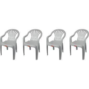 ประกาศขาย เก้าอี้สนาม มีพนักพิง และ ที่เท้าแขน รุ่น 999 สีขาวอมเทา แพ็ค4ตัว