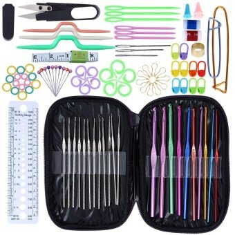 99x Multi Colour Crochet Metal Hooks Weaving Tools Knitting Needlework Kits +Case - intl