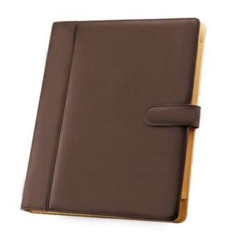 A4 3 Hole PU Leather File Folder Portfolio with Holder Calculatorfor Business Office Coffee - intl