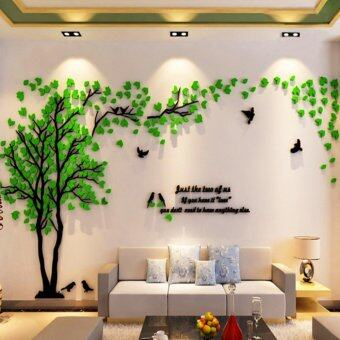 Acrylic Tree and Birds 3D Wall Stickers Countryside Style (Green) - intl