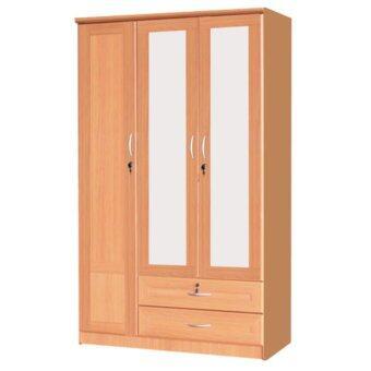 ้ADD ตู้เสื้อผ้า 3 บาน กระจกคู่ ขนาด 120 ซม. รุ่น WR - 1204 M 2สีบีช