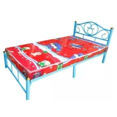 ADDHOME เตียงเหล็ก ขา 2 นิ้ว พร้อมที่นอนฟองน้ำ ขนาด 3.5 ฟุต รุ่น Duo- Lotus-3.5 (สีฟ้า)