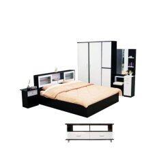 ADDHOME ชุดห้องนอนเมลามีน ขนาด 6 ฟุต รุ่น New York-6S5 Set 5 ชิ้น (สีโอ๊คขาว)