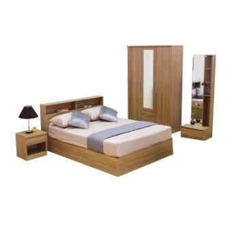 ADDHOME ชุดห้องนอน ขนาด 6 ฟุต Set 4 ชิ้น รุ่น Burlin-6S4(สีคาปูชิโน่)
