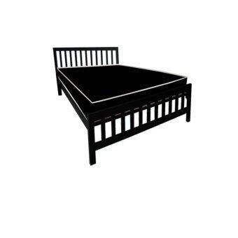 ADDHOME เตียงเหล็กกล่อง พร้อมที่นอนใยยางหุ้ม PVC ขนาด 3.5 ฟุต รุ่น PVCExtra-3.5(สีดำ)