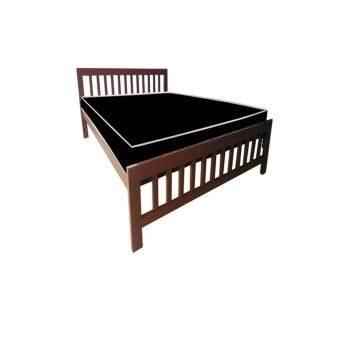 ADDHOME เตียงเหล็กกล่อง พร้อมที่นอนใยยางหุ้ม PVC ขนาด 3.5 ฟุตรุ่น PVCExtra-3.5(สีน้ำตาล)