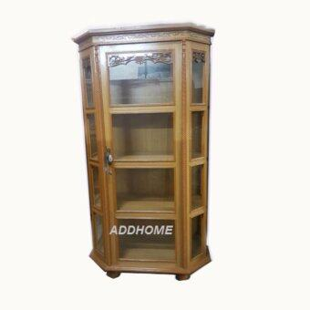 ADDHOME-WDK002 ตู้โชว์ 5 เหลี่ยมไม้อัดสัก-สีสัก