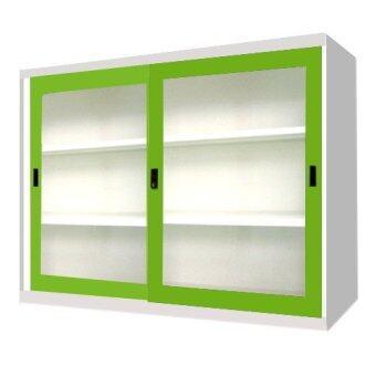 เสนอราคา ADHOME ตู้เอกสารบานเลื่อนกระจก ขนาด 120 ซม. รุ่น SLA-4 (สีเขียว)