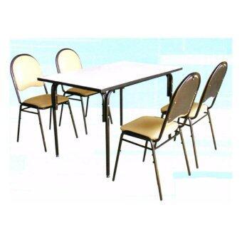 Asia ชุดโต๊ะอาหาร 4 ฟุต + เก้าอี้เบาะหนัง 4 ตัว รุ่นวิอตอเรีย ขาดำ
