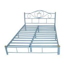 Asia เตียงเหล็ก5ฟุต รุ่นโลตัส ขา2นิ้ว (สีฟ้า)